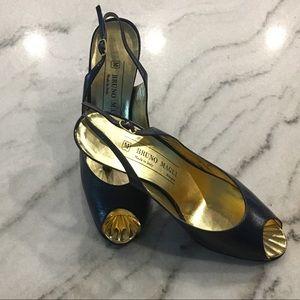 Bruno Magli// peep-toe sling back heels, size 6.5